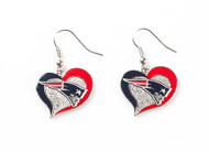 New England Patriots Swirl Heart Earrings