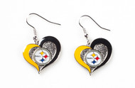 Pittsburgh Steelers Swirl Heart Earrings