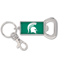 Michigan State Green Bottle Opener Metal Keychain (WC)
