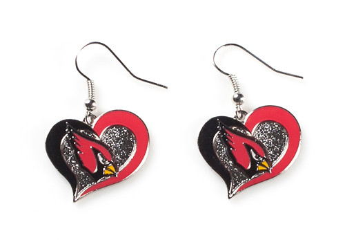 Arizona Cardinals Swirl Heart Earrings