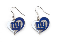 New York Giants Swirl Heart Earrings