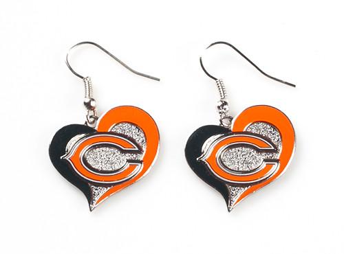Chicago Bears Swirl Heart Earrings