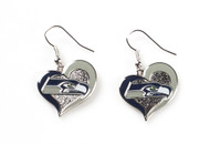 Seattle Seahawks Swirl Heart Earrings
