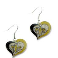 New Orleans Saints Swirl Heart Earrings