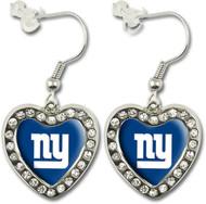 New York Giants Crystal Heart Earrings