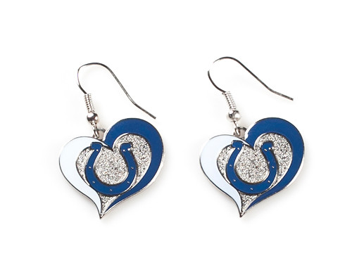 Indianapolis Colts Swirl Heart Earrings