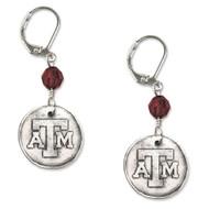 Texas A&M University White Copper Earrings
