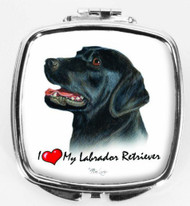 I Love My Black Labrador Compact Mirror