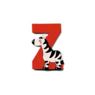 Wooden Red Zebra Letter Z Magnet by The Toy Workshop