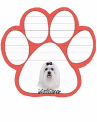 Maltese Dog Paw Magnetic Note Pad