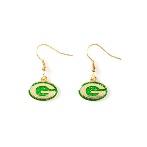 Green Bay Packers Glitter Dangle Earrings - Sunset Key Chains