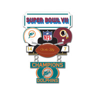 Super Bowl VII (7) Dolphins vs. Redskins Champion Lapel Pin