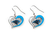 Carolina Panthers Swirl Heart Earrings