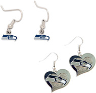 Seattle Seahawks Logo and Swirl Heart Earrings