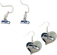 Seattle Seahawks Logo and Swirl Heart Earrings