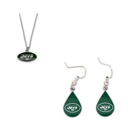New York Jets Logo Necklace and Teardrop Earrings