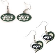 New York Jets Logo and Swirl Heart Earrings