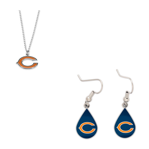 Chicago Bears Logo Necklace and Teardrop Earrings