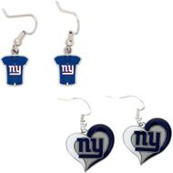 New York Giants Jersey and Swirl Heart Earrings