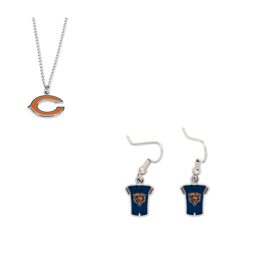 Chicago Bears Logo Necklace and Jersey Earrings