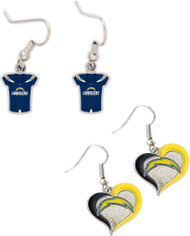 San Diego Chargers Jersey and Swirl Heart Earrings