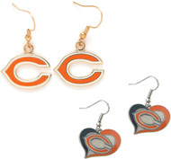 Chicago Bears Logo and Swirl Heart Earrings