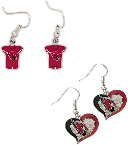 Arizona Cardinals Jersey and Swirl Heart Earrings