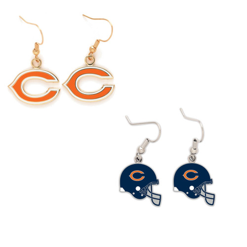 Chicago Bears Logo and Helmet Earrings