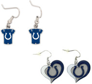 Indianapolis Colts Jersey and Swirl Heart Earrings