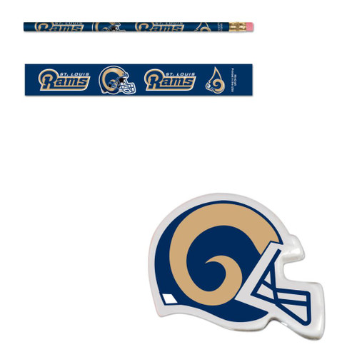 St. Louis Rams Six (6) Erasers and Six (6) Pencils