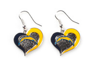 San Diego Chargers Swirl Heart Earrings (2 Pack)