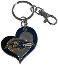 Baltimore Ravens Swirl Heart Keychain