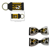 University of Missouri Hair Bow Pair and Chevron Keychain