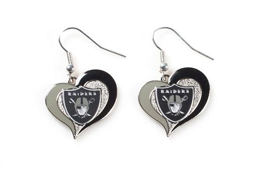 Oakland Raiders Swirl Heart Earrings