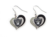 Oakland Raiders Swirl Heart Earrings (2 Pack)