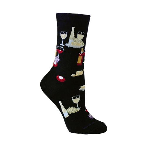 Wine & Cheese Black  Cotton Ladies Socks