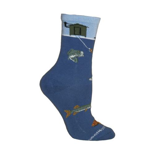 Ice Fishing Blue Cotton Ladies Socks