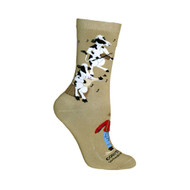 Cows Country Moosic Khaki Cotton Ladies Socks