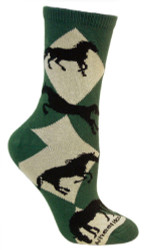 Diamond Horses Green Cotton Ladies Socks