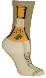 White Wine Bottle  Cotton Ladies Socks