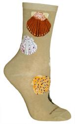 Shells Khaki Cotton Ladies Socks