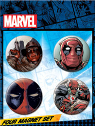 Deadpool 4 Piece Round Refrigerator Magnet Set