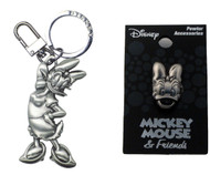 Bundle 2 Items: One (1) Daisy Duck Pewter Keychain and One (1) Pewter Lapel Pin