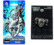 Bundle 2 Items: One (1) Harley Quinn Pewter Keychain and One (1) Pewter Lapel Pin