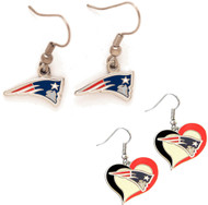 New England Patriots Logo and Swirl Heart Earrings