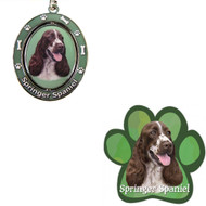 Bundle - 2 Items: Springer Spaniel Spinning Keychain and Paw Magnet