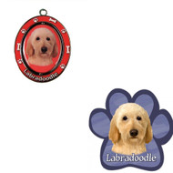 Bundle - 2 Items: Labradoodle Spinning Keychain and Paw Magnet