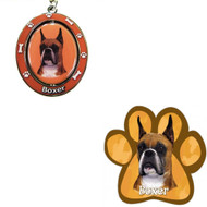 Bundle - 2 Items: Cropped Boxer Spinning Keychain and Paw Magnet