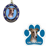 Bundle - 2 Items: Greyhound Spinning Keychain and Paw Magnet