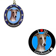Bundle - 2 Items: Greyhound Spinning Keychain and I Love My Magnet